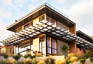 Современная дизайнерская отделка фасада дома, коттеджа планкеном